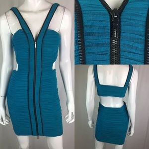 Bebe Mesh Full Zip Ruched Open Back Bodycon Dress